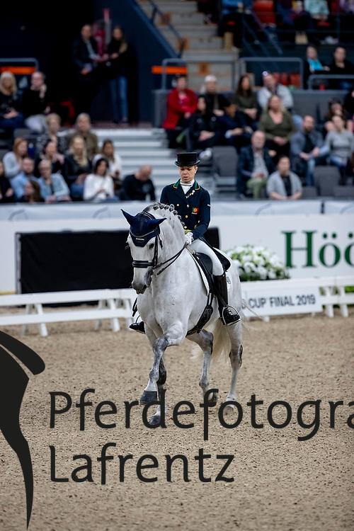 CAETANO Maria (POR), Coroado<br /> Göteborg - Gothenburg Horse Show 2019 <br /> FEI Dressage World Cup™ Final I<br /> Int. dressage competition - Grand Prix de Dressage<br /> Longines FEI Jumping World Cup™ Final and FEI Dressage World Cup™ Final<br /> 05. April 2019<br /> © www.sportfotos-lafrentz.de/Stefan Lafrentz
