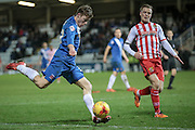 Luke James (Hartlepool United) crossing the ball in the final few moments of the Sky Bet League 2 match between Hartlepool United and Stevenage at Victoria Park, Hartlepool, England on 9 February 2016. Photo by Mark P Doherty.