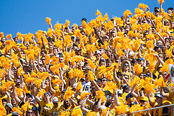 Sep 3, 2016; Morgantown, WV, USA; West Virginia Mountaineers students cheer during the first quarter against the Missouri Tigers at Milan Puskar Stadium. Mandatory Credit: Ben Queen-USA TODAY Sports
