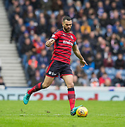 7th April 2018, Ibrox Stadium, Glasgow, Scotland; Scottish Premier League football, Rangers versus Dundee; Steven Caulker of Dundee