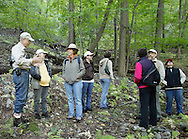 Salisbury Mills, New York - George Muser, left, of the Hudson Highlands Nature Museum talks during a hike through Clove Brook Farm at the base of Schunnemunk Mountain on Oct. 2, 2010. The outing was organized by the Hudson Highlands Nature Museum.