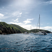 The anchorage at The Caves at Norman Island in the British Virgin Islands. The site is a popular snorkelling spot, with three caves accessible from the water. Norman Island is reputed to be the inspiration for Robert Louis Stevenson's novel Treasure Island.