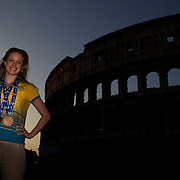 2Australian Gold medal winner Marieke Guehrer during a 6am photo shoot outside the Coloseum in Rome, Italy on  Monday, August 3, 2009. Photo Tim Clayton