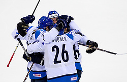 Players of Finland celebrate during ice-hockey match between Russia and Finland of Group E in Qualifying Round of IIHF 2011 World Championship Slovakia, on May 9, 2011 in Orange Arena, Bratislava, Slovakia. (Photo By Vid Ponikvar / Sportida.com)