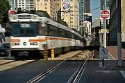 An electric powered Metro Rail street car in Long Beach, California