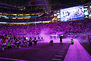 The lights are dimmed and colored purple and white smoke clouds the field as players are introduced during the Minnesota Vikings 2016 NFL week 4 regular season football game against the against the New York Giants on Monday, Oct. 3, 2016 in Minneapolis. The Vikings won the game 24-10. (©Paul Anthony Spinelli)