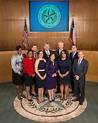 2014 Houston ISD Board of Education trustees, L-R: Wanda Adams (D9), Paula Harris (D4), Harvin Moore (D7), Anna Eastman (D1), Manuel Rodriguez (D3), Juliet Stipeche (D8), Mike Lunceford (D5), Rhonda Skillern-Jones (D2), Dr. Terry Grier (Superintendent) and Greg Meyers (D6) pose for a photograph, February 10, 2014.