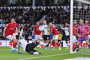 Derby County midfielder Tom Huddlestone (44) just fails to make contact with the ball at the back post during the EFL Sky Bet Championship match between Derby County and Bristol City at the Pride Park, Derby, England on 20 August 2019.