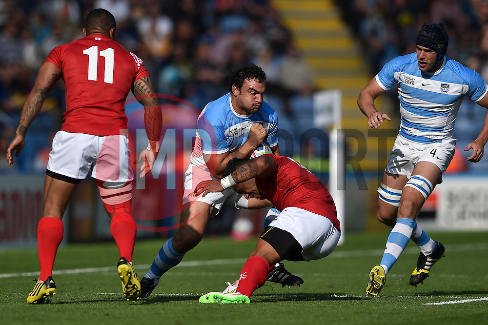 Agustin Creevy of Argentina takes on the Tonga defence - Mandatory byline: Patrick Khachfe/JMP - 07966 386802 - 04/10/2015 - RUGBY UNION - Leicester City Stadium - Leicester, England - Argentina v Tonga - Rugby World Cup 2015 Pool C.