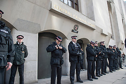 Police outside the The Old Bailey, during the sentencing of soldier Lee Rigby's killers. London, United Kingdom. Wednesday, 26th February 2014.  Picture by i-Images