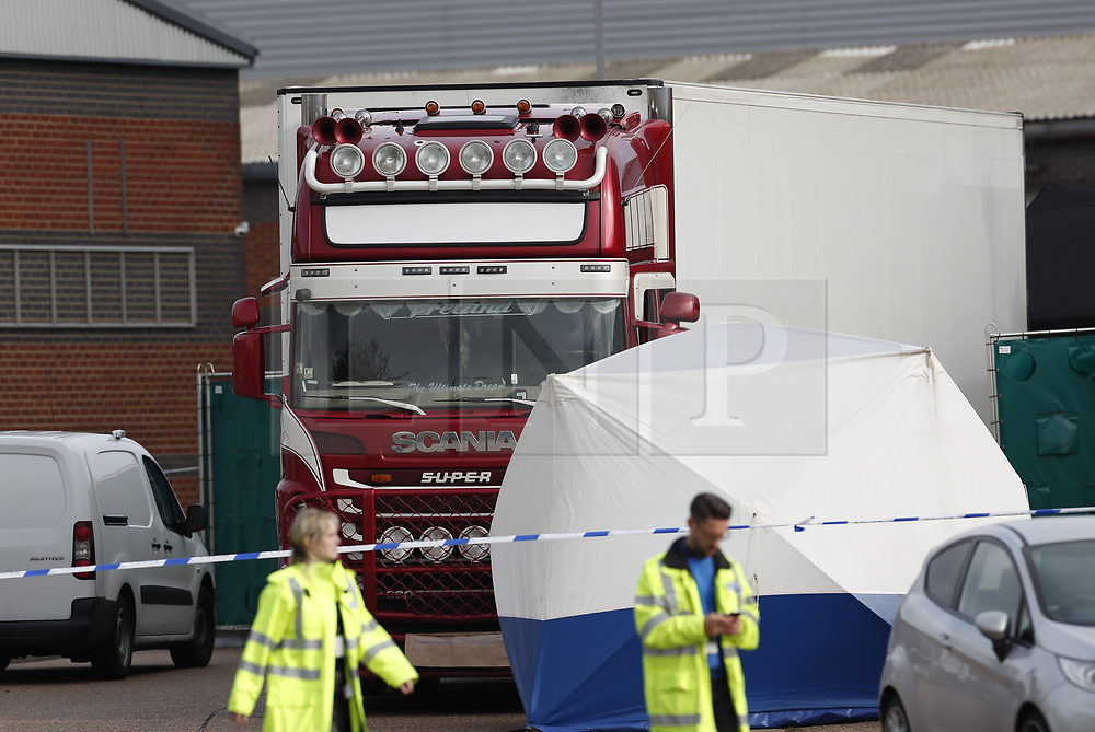 © Licensed to London News Pictures. 23/10/2019. Grays, UK. The scene at Waterglade Industrial Park in Grays, Essex where the bodies of 39 people have been found in a lorry container. The driver, a 25-year-old-man from Northern Ireland, has been arrested on suspicion of murder. . Photo credit: Peter Macdiarmid/LNP