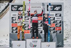 06.01.2020, Paul Außerleitner Schanze, Bischofshofen, AUT, FIS Weltcup Skisprung, Vierschanzentournee, Bischofshofen, Finale, Podium Tagessieg, im Bild v.l.: 2. Platz Karl Geiger (GER), 1. Platz Dawid Kubacki (POL), 3. Platz Marius Lindvik (NOR) // f.l.: 2nd placed Karl Geiger of Germany Winner Dawid Kubacki of Poland 3nd placed Marius Lindvik of Norway on Podium stage winner during winner ceremony after Four Hills Tournament of FIS Ski Jumping World Cup at the Paul Außerleitner Schanze in Bischofshofen, Austria on 2020/01/06. EXPA Pictures © 2020, PhotoCredit: EXPA/ Dominik Angerer