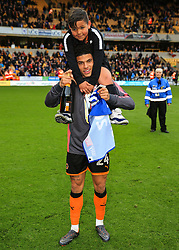 Free to use courtesy of Sky Bet - Morgan Gibbs-White of Wolverhampton Wanderers celebrates after lifting the Sky Bet Championship 2017/18 league trophy - Mandatory by-line: Matt McNulty/JMP - 28/04/2018 - FOOTBALL - Molineux - Wolverhampton, England - Wolverhampton Wanderers v Sheffield Wednesday - Sky Bet Championship