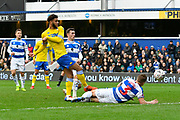 Tyler Roberts (11 of Leeds United shoots at goal during the The FA Cup 3rd round match between Queens Park Rangers and Leeds United at the Loftus Road Stadium, London, England on 6 January 2019.