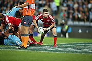 Mitchell Drummond passing. NSW Waratahs v Canterbury Crusaders. Sport Rugby Union Super Rugby Representative Provincial. ANZ Stadium. 23 May 2015. Photo by Paul Seiser/SPA Images
