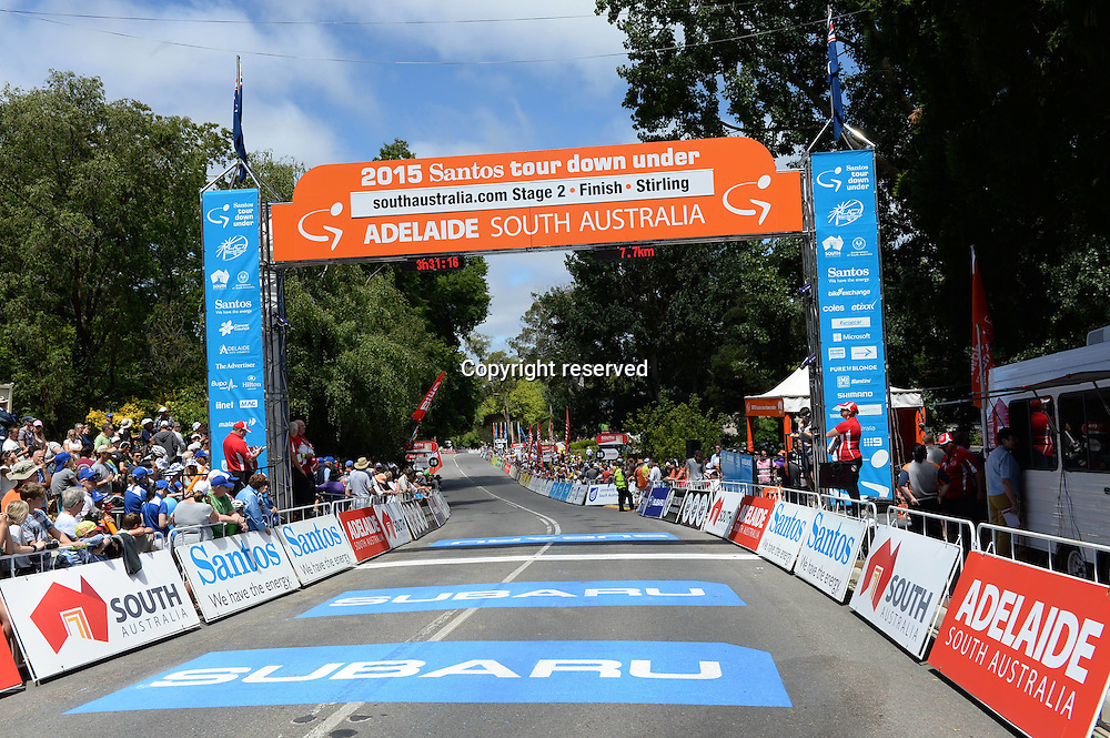 21.01.2015. Unley to Stirling. Tour Down Under cycling tour. Finish line in  Stirling