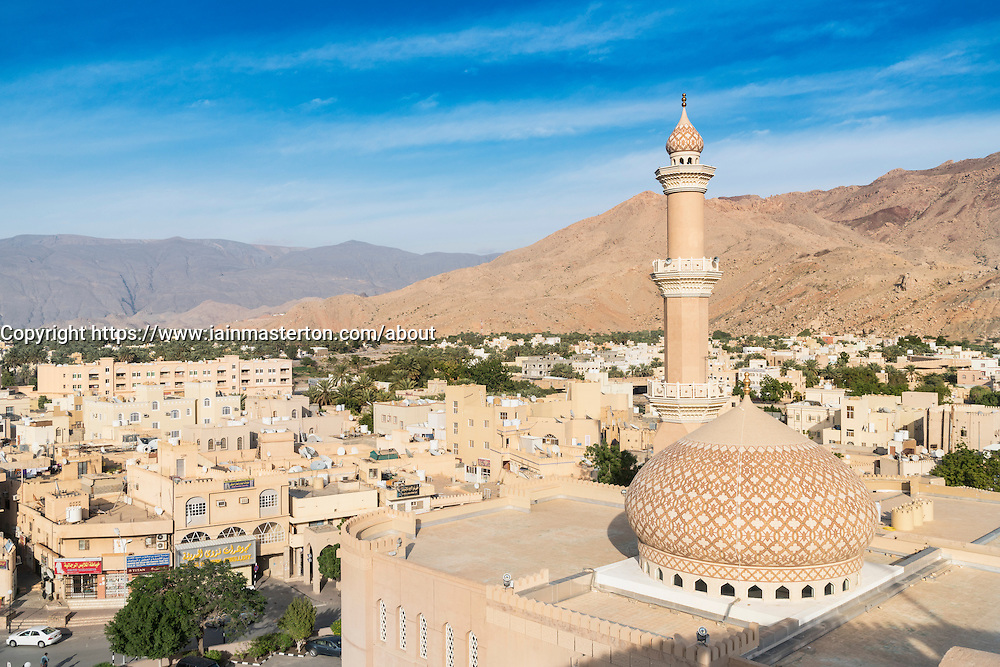 View of Nizwa Mosque and city of Nizwa  from Nizwa Fort in Nizwa Oman