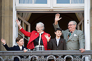 16.04.13. Copenhagen, Denmark.Queen Margrethe II celebrates her 73th birthday with her whole family, From left to right, Prince Christian, Queen Margrethe II,Prince Nikolai and Prince Henrik. The royal family appears on the balcony of Christian IX's Palace at Amalienborg Palace.Photo: © Ricardo Ramirez