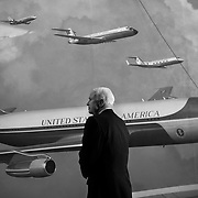 GOP Presidential Candidate Sen. John McCain looks at a mural of Air Force Ones backstage before the start of the GOP debate Thursday, May 3, 2007, at the Ronald Reagan Presidential Library in Simi Valley, CA...Photo by Khue Bui