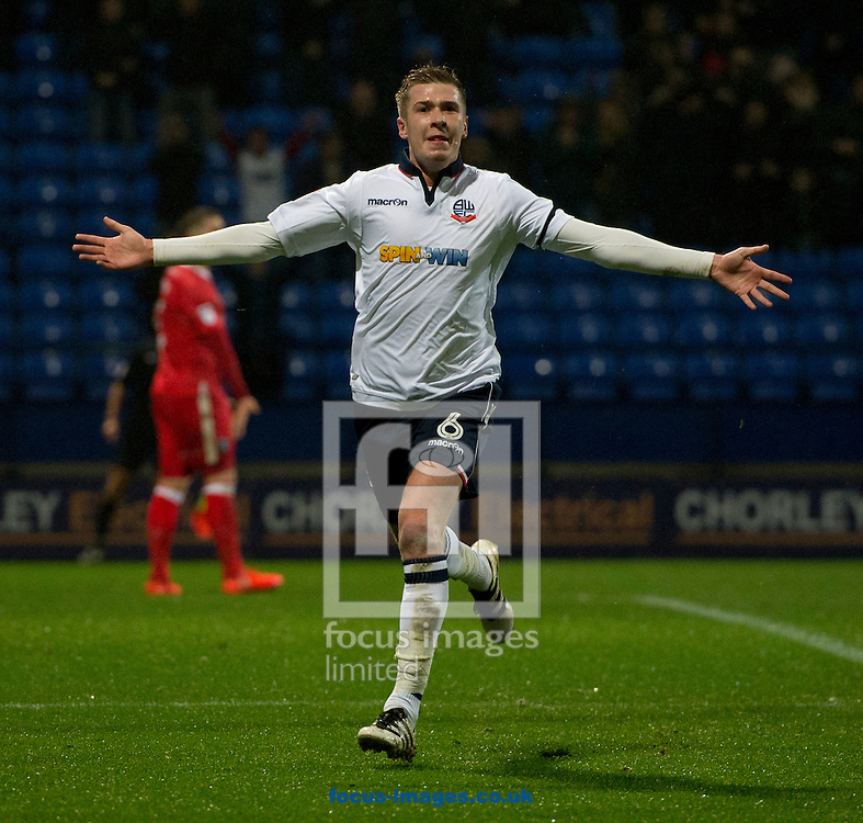 Josh Vela of Bolton Wanderers celebrates after scoring his team's 2nd goal to make it 2-0 during the Sky Bet League 1 match at the Macron Stadium, Bolton<br /> Picture by Russell Hart/Focus Images Ltd 07791 688 420<br /> 12/12/2016