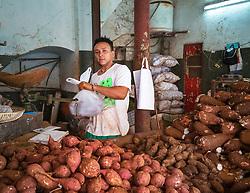 Old Havana, Cuba. Havana vieja, street sale. Man selling vegetables, market.