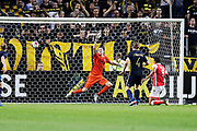 SOLNA, SWEDEN - JULY 27: Ahmed Hassan of SC Braga has the ball in the net but the goal is waved off during the UEFA Europa League Qualifying match between AIK and SC Braga at Friends arena on July 27, 2017 in Solna, Sweden. Photo by Nils Petter Nilsson/Ombrello