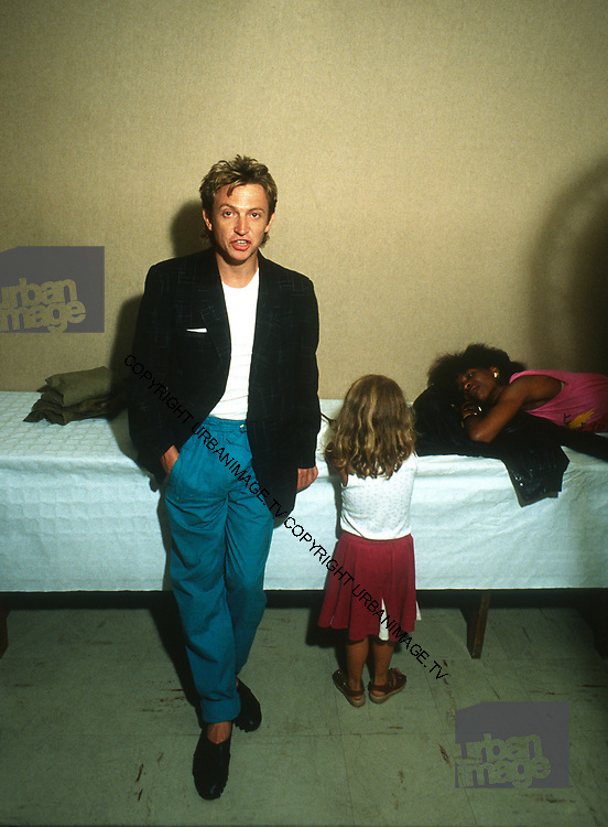Andy Summers and daughter backstage - The Police -1980