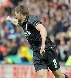 Liverpool's Steven Gerrard celebrates his goal - Photo mandatory by-line: Nizaam Jones/JMP - Mobile: 07966 386802 - 24/05/2015 - SPORT - Football - Stoke - Britannia Stadium - Stoke City v Liverpool - Barclays Premier League