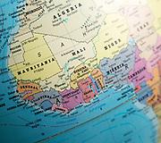 West Africa map on a globe focused on Ivory Coast