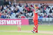 Lancashires Karl Brown reaches 50 during the Vitality T20 Blast North Group match between Lancashire Lightning and Birmingham Bears at the Emirates, Old Trafford, Manchester, United Kingdom on 10 August 2018.