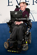 """Dec 9, 2014 - """"The Theory Of Everything"""" - UK Premiere - Red Carpet Arrivals at Odeon,  Leicester Square, London<br /> <br /> Pictured:  Professor Stephen Hawking<br /> ©Exclusivepix Media"""