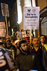 © Licensed to London News Pictures. 04/12/2015. London, UK. People attend an anti-Islamophobia rally and protest against racism and anti-muslim hate crime, outside the Finsbury Park Mosque in north London. The rally, organised by Finsbury Park Mosque, Stand Up To Racism and Stop The War Coalition follows an attempted arson attack on Finsbury Park Mosque last week and was attended by Labour Party leader and local MP for Islington North, Jeremy Corbyn. Photo credit : Vickie Flores/LNP