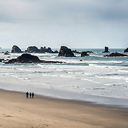 A family walking on Indian Beach in Ecola State Park, Oregon Coast.