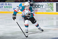 KELOWNA, CANADA - JANUARY 24:  JT Barnett #17 of the Kelowna Rockets skates on the ice against the Seattle Thunderbirds at the Kelowna Rockets on January 24, 2013 at Prospera Place in Kelowna, British Columbia, Canada (Photo by Marissa Baecker/Shoot the Breeze) *** Local Caption ***