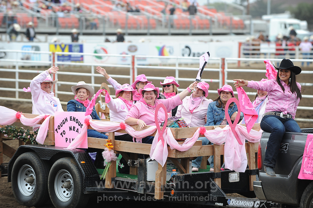 Participants in the Tough Enough To Wear Pink campaign pass by the stands in the opening ceremonies for the 2013 California Rodeo Salinas on Thursday night.