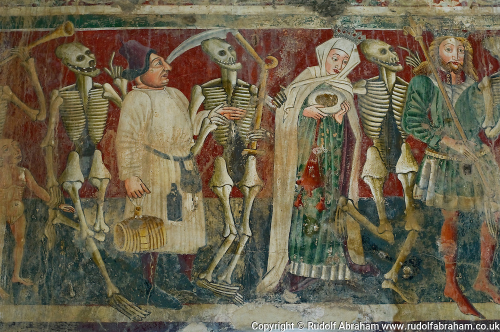 The famous 'Dance of the Dead' scene, one of the 15th century frescoes at the church of St Mary of the Rocks, Beram, Istria, Croatia