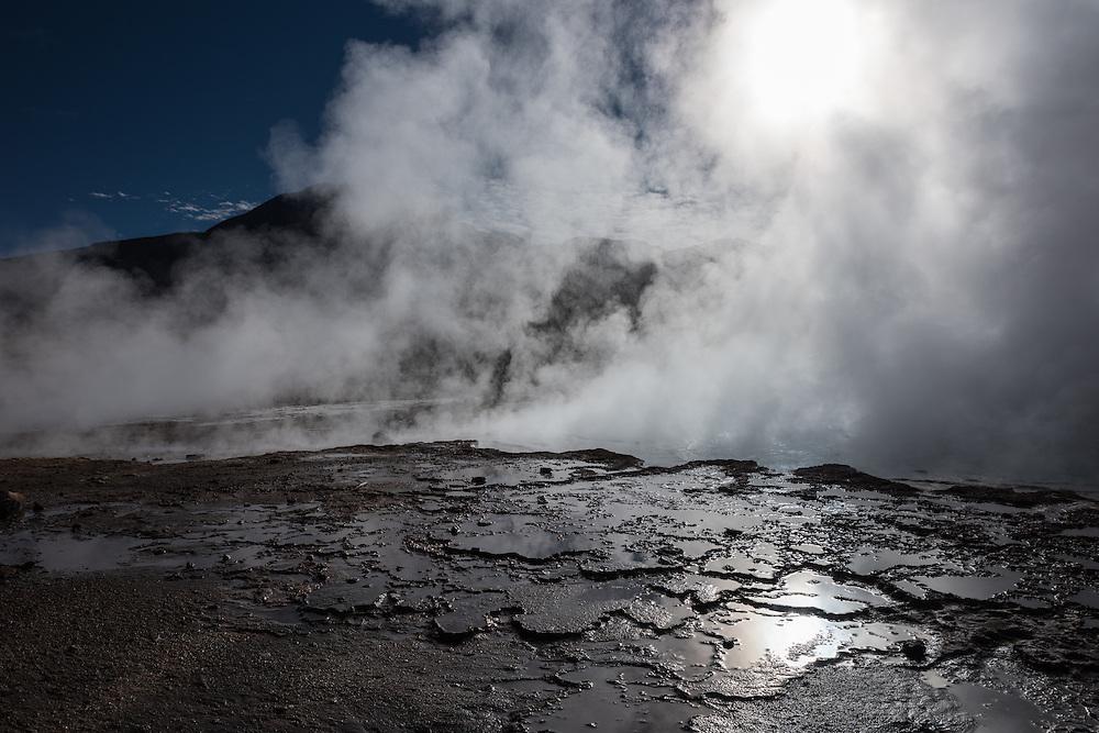 Fumaroles cover eyesight in the El Tatio geyser field, El Tatio, Chile.