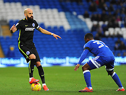 Bruno Saltor of Brighton & Hove Albion tries to get past Junior Hoilett of Cardiff City- Mandatory by-line: Nizaam Jones/JMP - 03/12/2016 -  FOOTBALL - Cardiff City Stadium - Cardiff, Wales -  Cardiff City v Brighton and Hove Albion - Sky Bet Championship