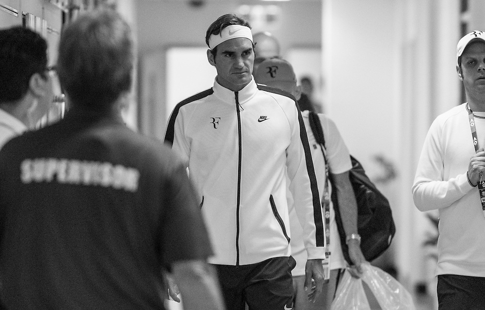 Roger Federer of Switzerland ahead of the men's final on day fourteen of the 2017 Australian Open at Melbourne Park on January 29, 2017 in Melbourne, Australia.<br /> (Ben Solomon/Tennis Australia)