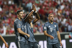 September 19, 2018 - Lisbon, Portugal - Renato Sanches of Bayern Munchen (C) celebrates his goal with Robert Lewandowski of Bayern Munchen (L) and Franck Ribery of Bayern Munchen (R)  during Champions League 2018/19 match between SL Benfica vs FC Bayern Munchen, in Lisbon, on September 19, 2018. (Credit Image: © Carlos Palma/NurPhoto/ZUMA Press)