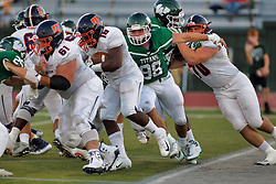 {BLOOMINGTON, IL: Jake Hibben, Jaelin Goldsmith, Mike Murphy, Braedon Parker during a college football game between the IWU Titans  and the Wheaton Thunder on September 15 2018 at Wilder Field in Tucci Stadium in Bloomington, IL. (Photo by Alan Look)