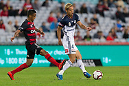 SYDNEY, AUSTRALIA - APRIL 27: Melbourne Victory midfielder Keisuke Honda (4) passes the ball under pressure from Western Sydney Wanderers midfielder Keanu Baccus (17) at round 27 of the Hyundai A-League Soccer between Western Sydney Wanderers FC and Melbourne Victory on April 27, 2019 at ANZ Stadium in Sydney, Australia. (Photo by Speed Media/Icon Sportswire)
