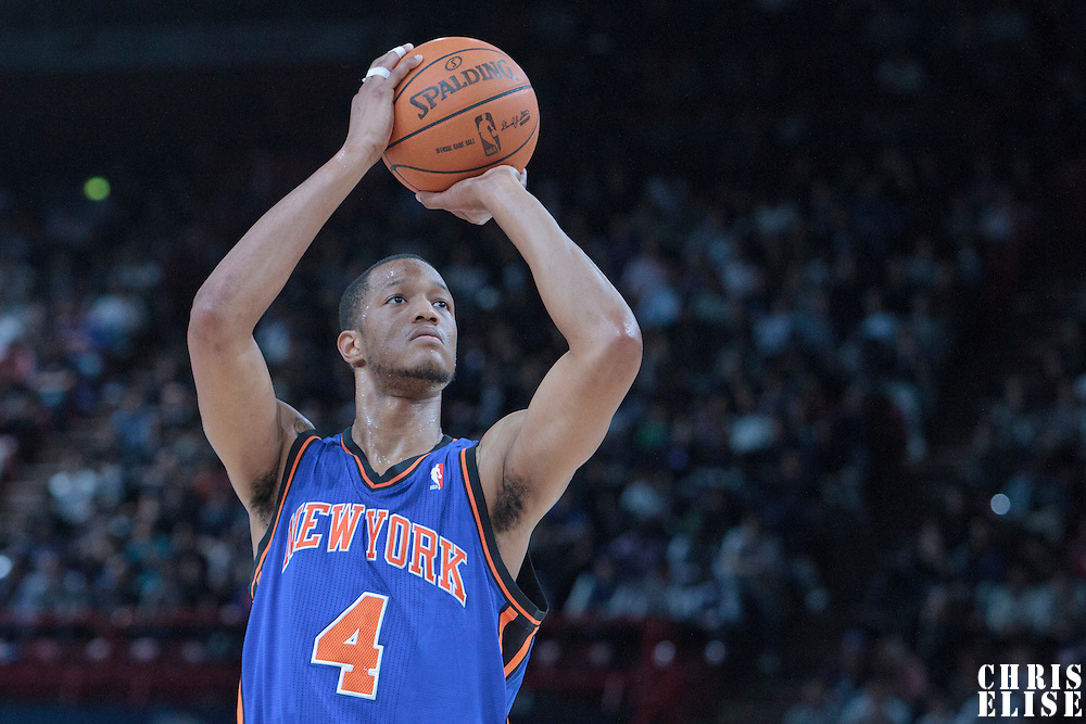06 October 2010: New York Knicks forward Anthony Randolph #4 is seen at the free throw line during the Minnesota Timberwolves 106-100 victory over the New York Knicks, during 2010 NBA Europe Live, at the POPB Arena in Paris, France.