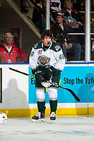 KELOWNA, BC - SEPTEMBER 28:  Olen Zellweger #48 of the Everett Silvertips puts his helmet on after a squirmish withthe Kelowna Rockets at Prospera Place on September 28, 2019 in Kelowna, Canada. (Photo by Marissa Baecker/Shoot the Breeze)