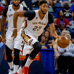 Mar 31, 2017; New Orleans, LA, USA; New Orleans Pelicans forward Anthony Davis (23) against the Sacramento Kings during the first quarter of a game at the Smoothie King Center. Mandatory Credit: Derick E. Hingle-USA TODAY Sports
