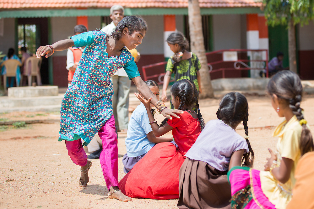 CAPTION: 13-year-old Chowdamma could only stand rooted to the spot when she first started attending her local After-School Club (ASC) five years ago. She has a learning disability, and was afraid to communicate with the other children in any way at all. Under her ASC tutor's careful strategic guidance, she has been able to build her confidence levels dramatically. LOCATION: Marialla (village), Kasaba (hobli), Chamrajnagar (district), Karnataka (state), India. INDIVIDUAL(S) PHOTOGRAPHED: Chowdamma.