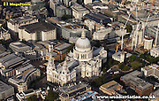 aerial photograph of St Pauls Cathedral in the City of London  London England UK