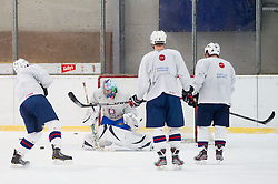 Goalie Robert Kristan during practice session of Slovenian Ice Hockey National Team for IIHF World Championship in Sweden and Finland, on March 28, 2013, in Arena Zlato Polje, Kranj, Slovenia. (Photo by Vid Ponikvar / Sportida.com)