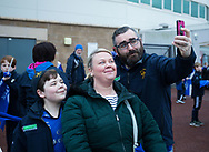Leinster fans take a selfie outside of the stadium<br /> <br /> Photographer Simon King/Replay Images<br /> <br /> Guinness PRO14 Round 19 - Ospreys v Leinster - Saturday 24th March 2018 - Liberty Stadium - Swansea<br /> <br /> World Copyright © Replay Images . All rights reserved. info@replayimages.co.uk - http://replayimages.co.uk