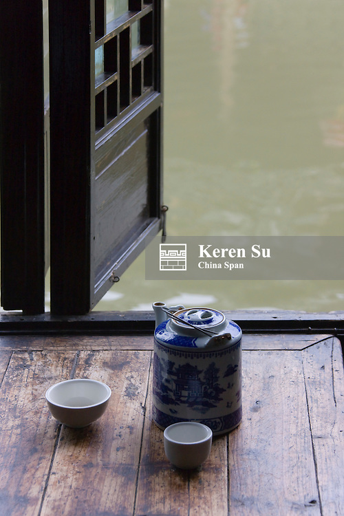 Tea house along the Grand Canal, Xitang, Zhejiang, China